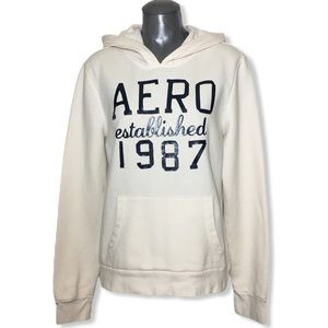 Aeropostale Cream Hoodie Sweatshirt Size XL